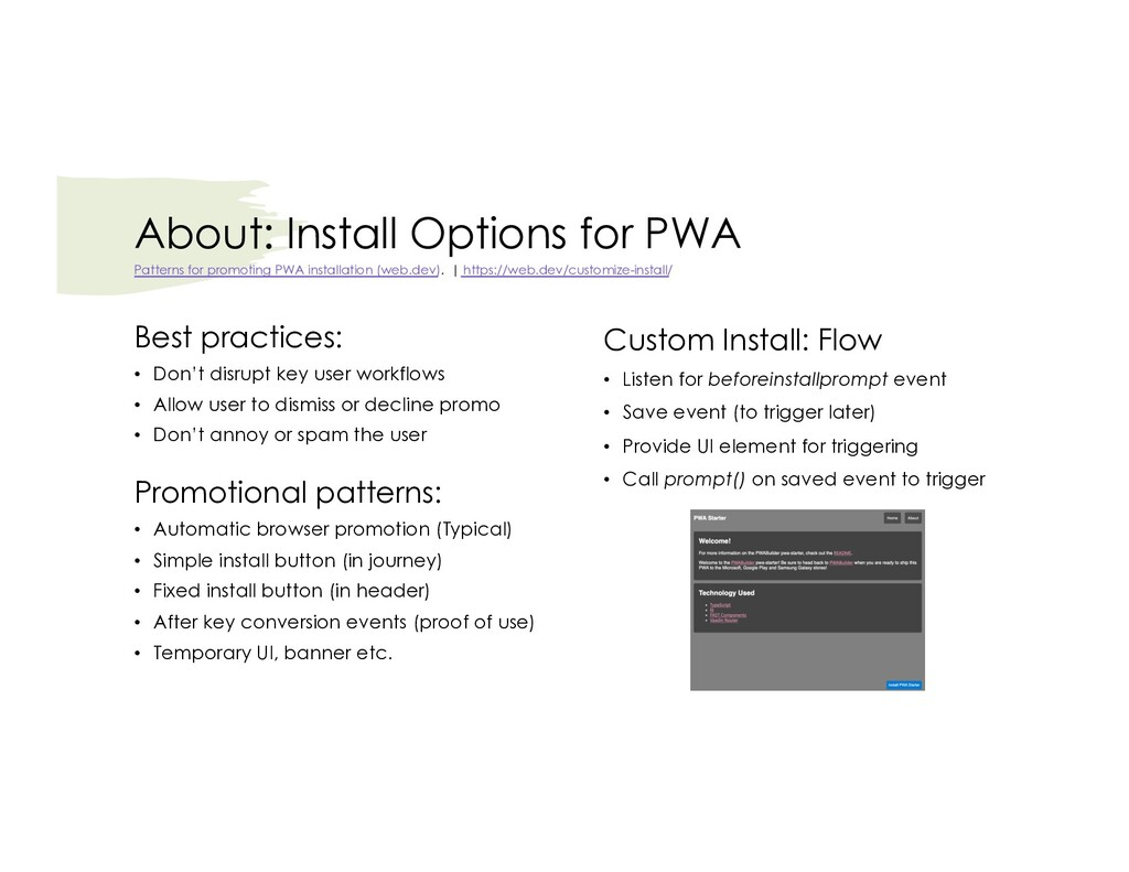 About: Install Options for PWA Best practices: ...