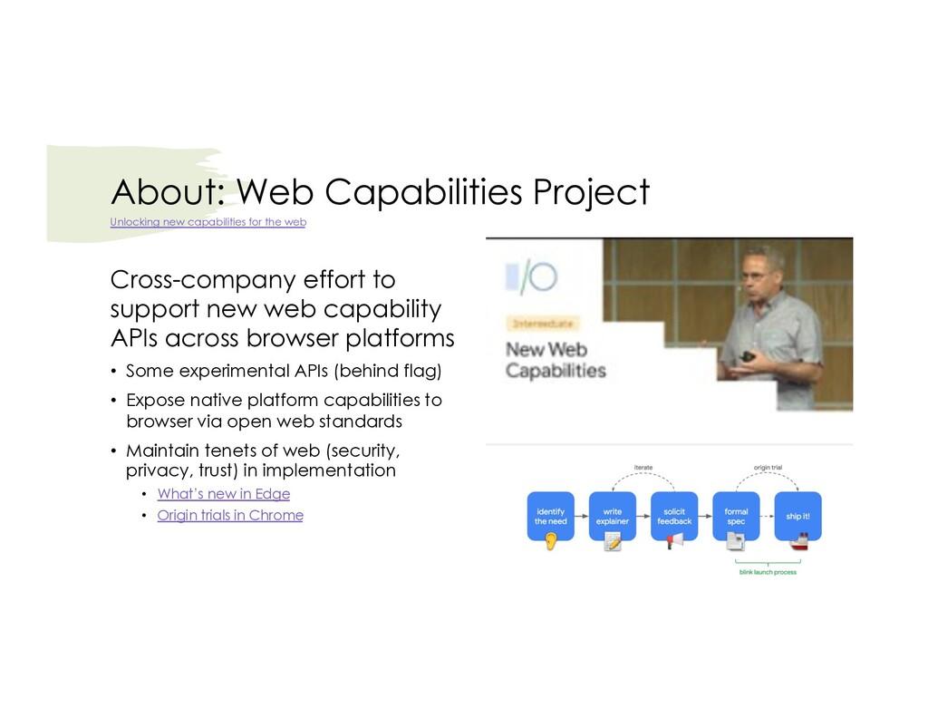 About: Web Capabilities Project Cross-company e...