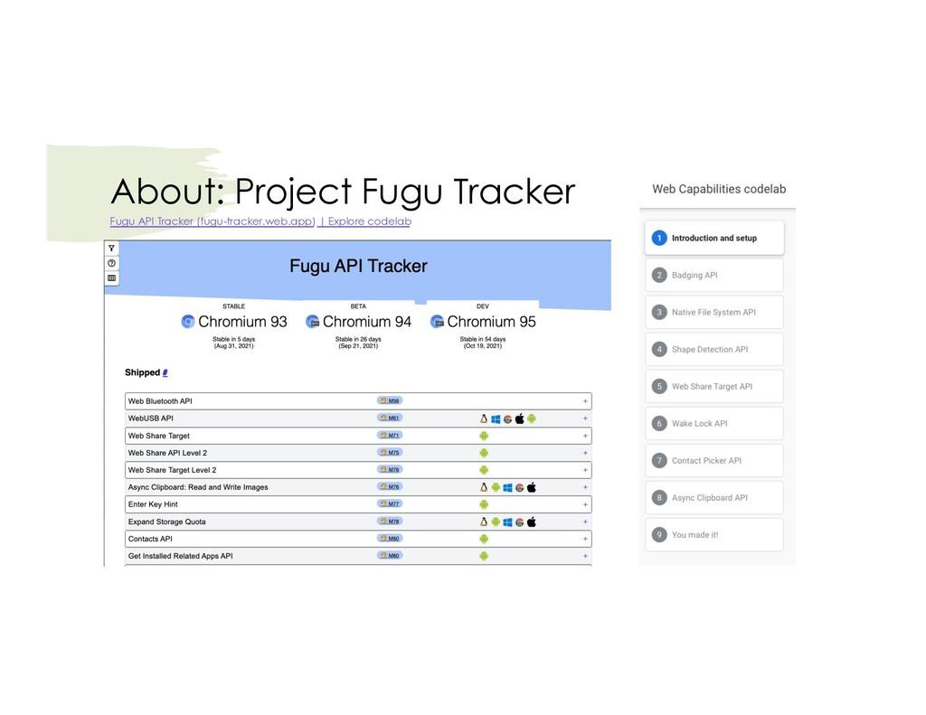 About: Project Fugu Tracker Fugu API Tracker (f...