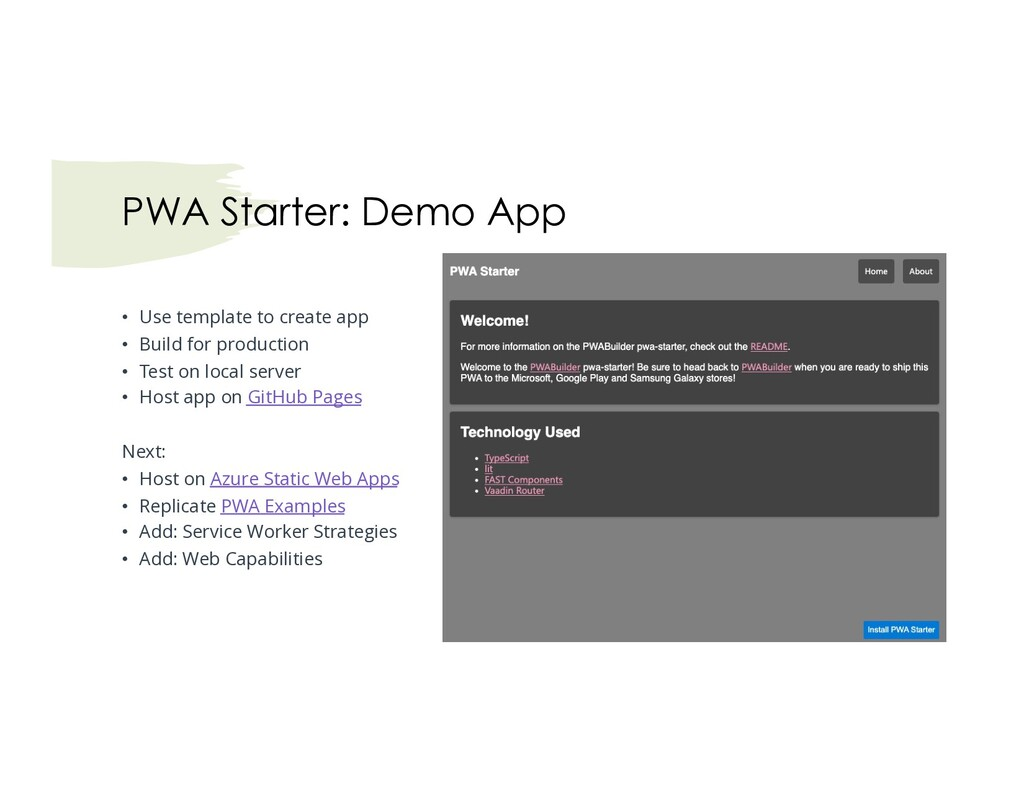 • Use template to create app • Build for produc...