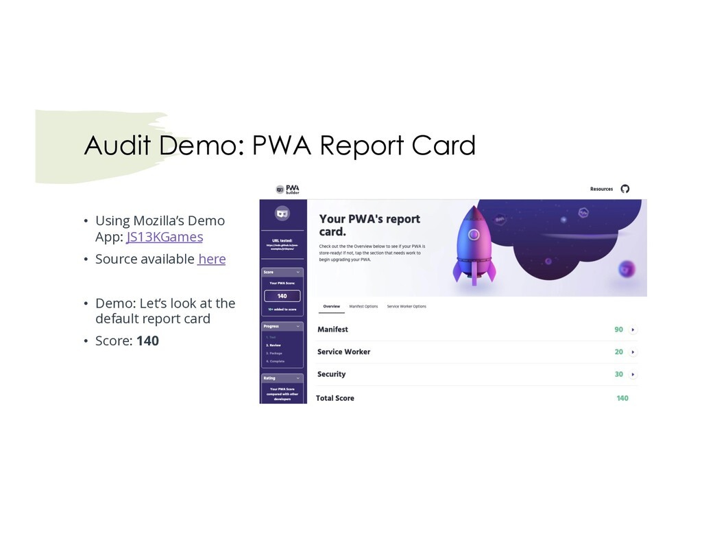 Audit Demo: PWA Report Card • Using Mozilla's D...