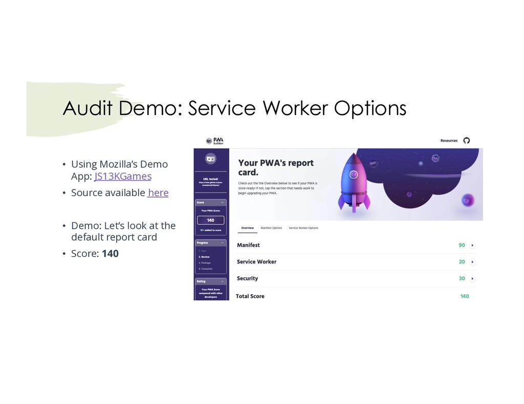 Audit Demo: Service Worker Options • Using Mozi...