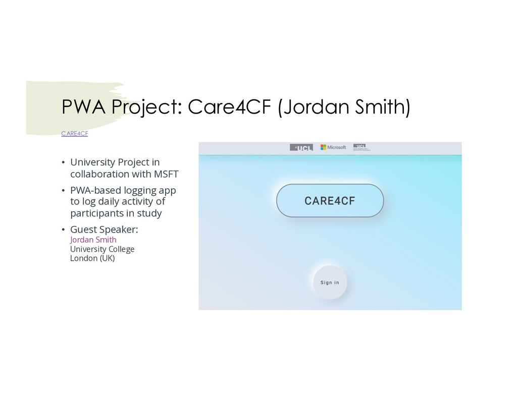 PWA Project: Care4CF (Jordan Smith) CARE4CF • U...