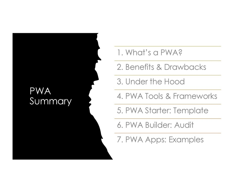 PWA Summary 1. What's a PWA? 2. Benefits & Draw...