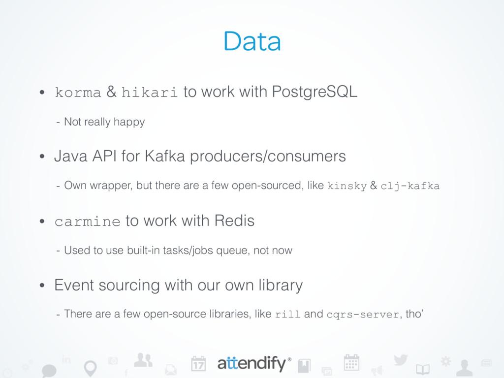 Data • korma & hikari to work with PostgreSQL -...