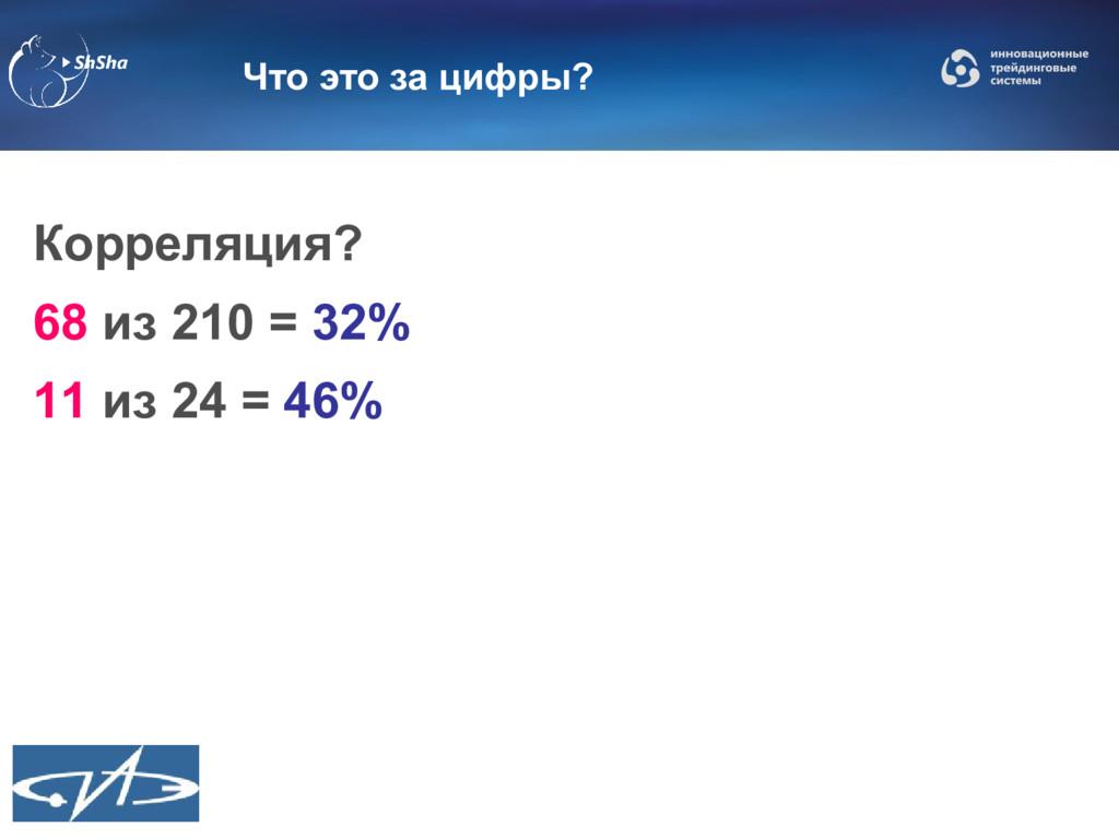 Что это за цифры? Корреляция? 68 из 210 = 32% 1...