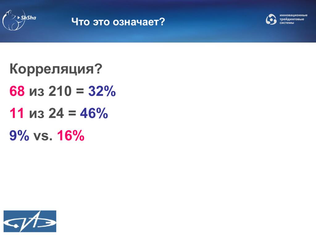 Что это означает? Корреляция? 68 из 210 = 32% 1...