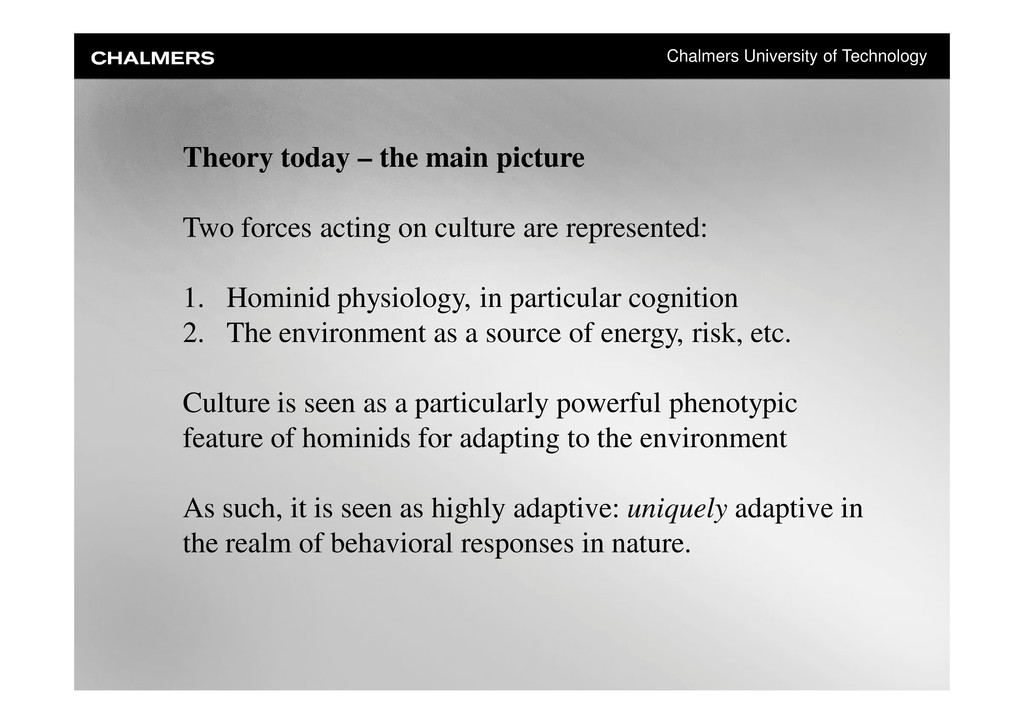 Chalmers University of Technology Theory today ...