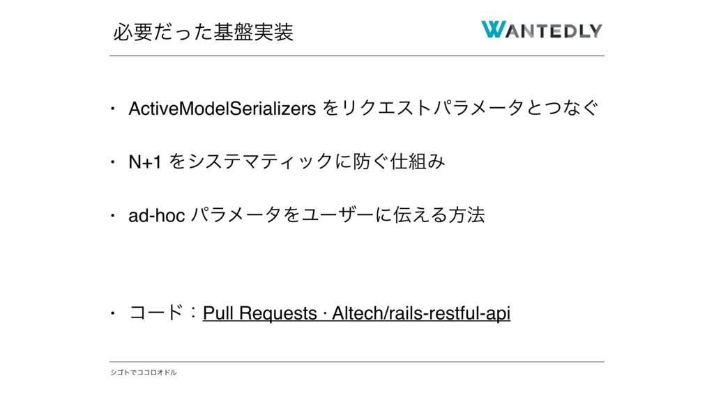 γΰτͰίίϩΦυϧ • ActiveModelSerializers ΛϦΫΤετύϥϝʔλ...