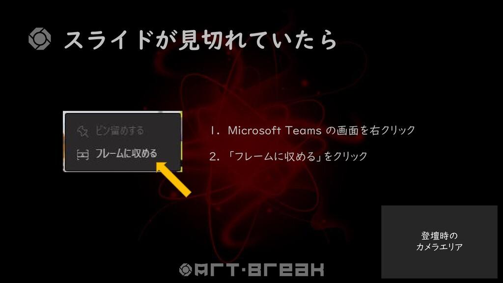 登壇時の カメラエリア スライドが見切れていたら 1. Microsoft Teams の画面...