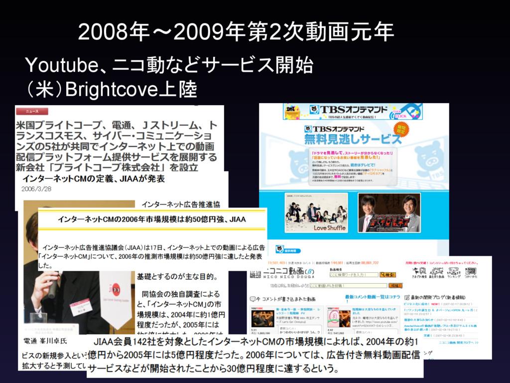 2008年~2009年第2次動画元年 Youtube、ニコ動などサービス開始  (米)Brig...