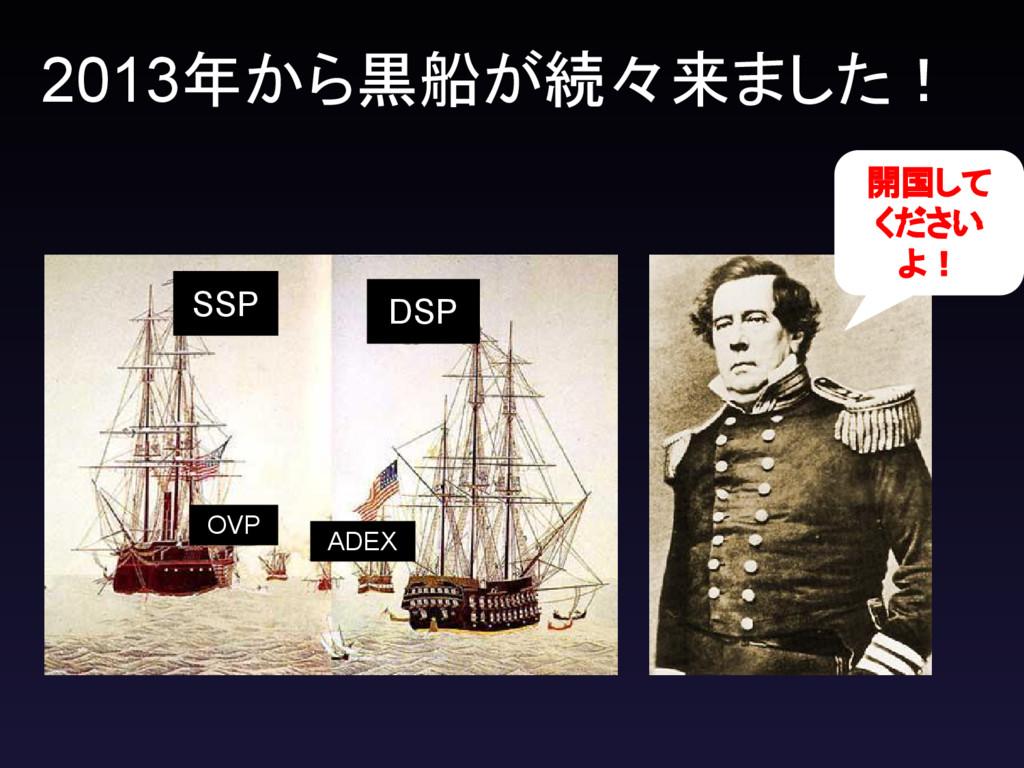 2013年から黒船が続々来ました! 開国して ください よ! DSP SSP OVP ADEX