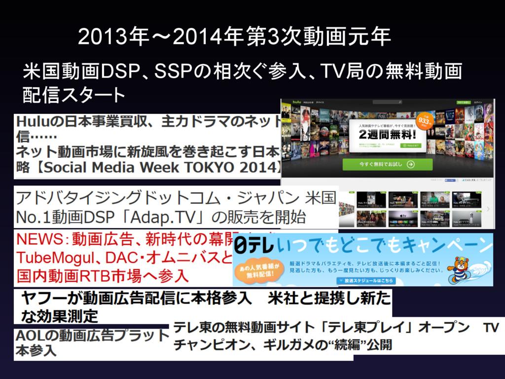 2013年~2014年第3次動画元年 米国動画DSP、SSPの相次ぐ参入、TV局の無料動画 配...