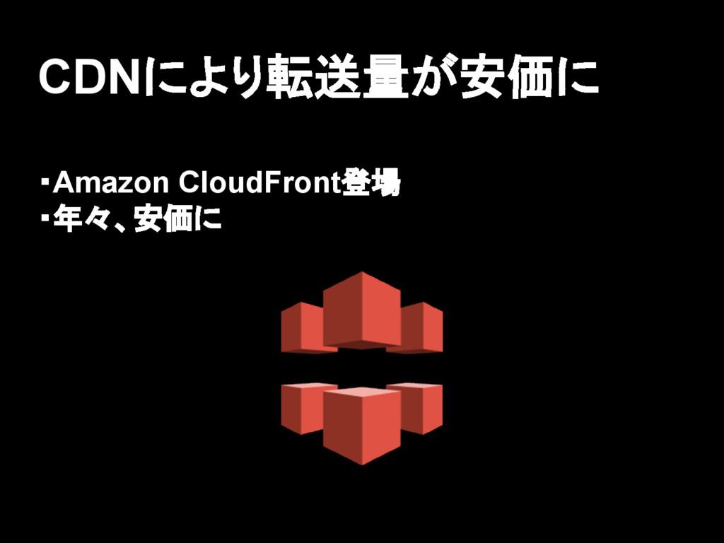 CDNにより転送量が安価に ・Amazon CloudFront登場 ・年々、安価に