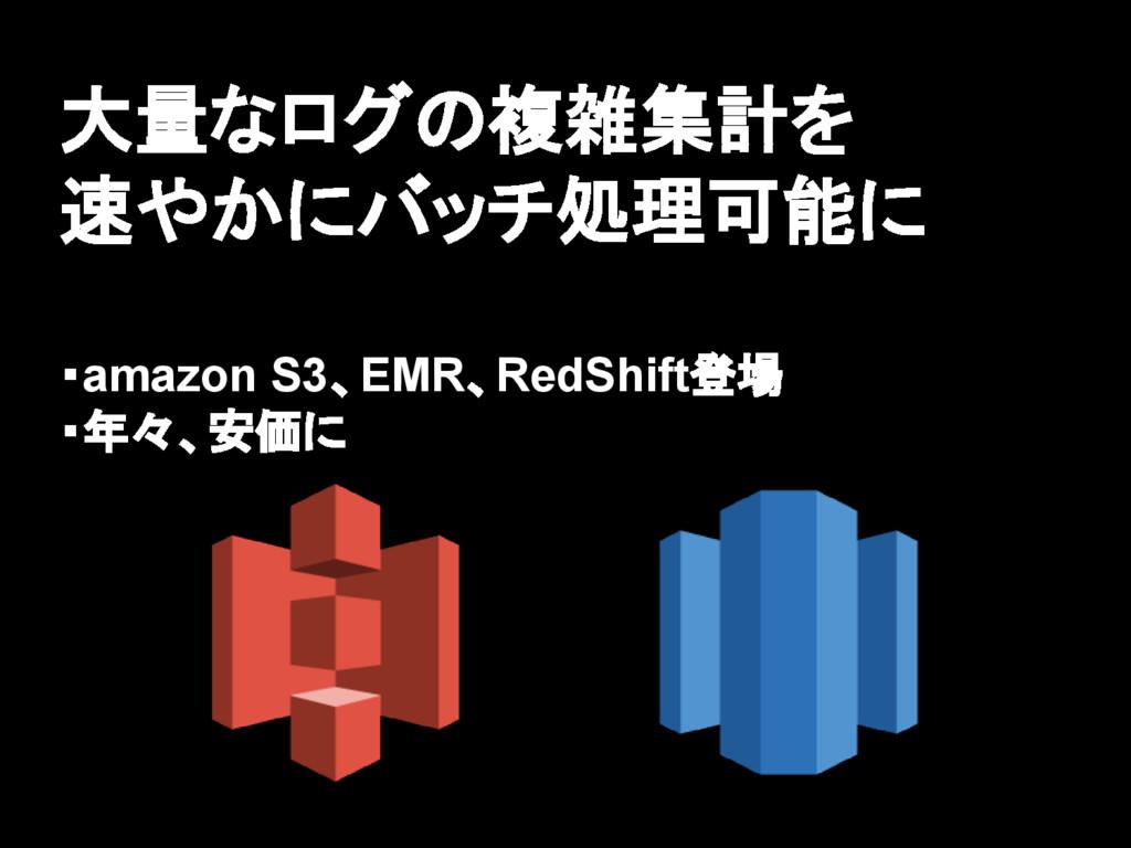 大量なログの複雑集計を 速やかにバッチ処理可能に ・amazon S3、EMR、RedShif...