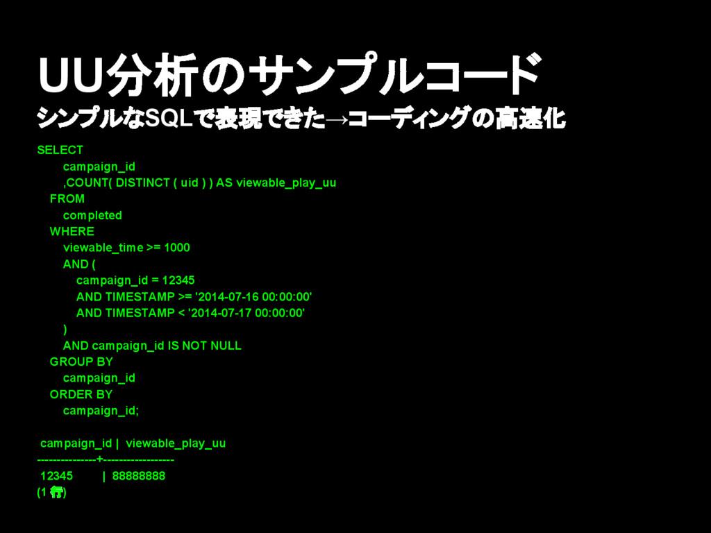UU分析のサンプルコード シンプルなSQLで表現できた→コーディングの高速化 SELECT c...