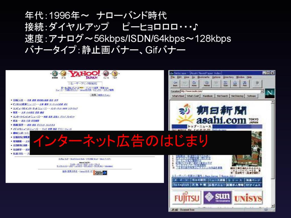 年代:1996年~ ナローバンド時代 接続:ダイヤルアップ  ピーヒョロロロ・・・♪ 速度:ア...