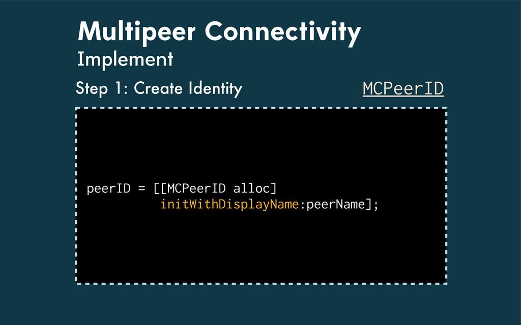 Multipeer Connectivity Implement MCPeerID peerI...