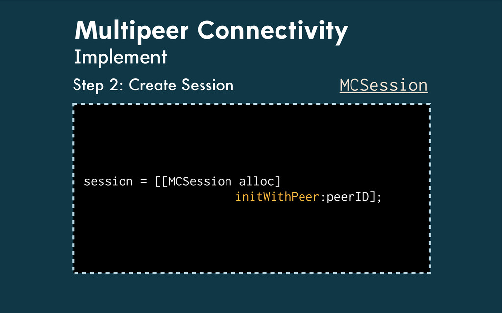 Multipeer Connectivity Implement MCSession sess...