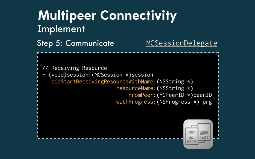 Multipeer Connectivity Implement MCSessionDeleg...