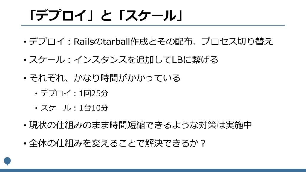 「デプロイ」と「スケール」 • デプロイ:Railsのtarball作成とその配布、プロセス切...