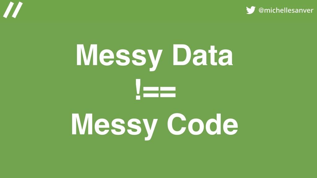 @michellesanver Messy Data !== Messy Code