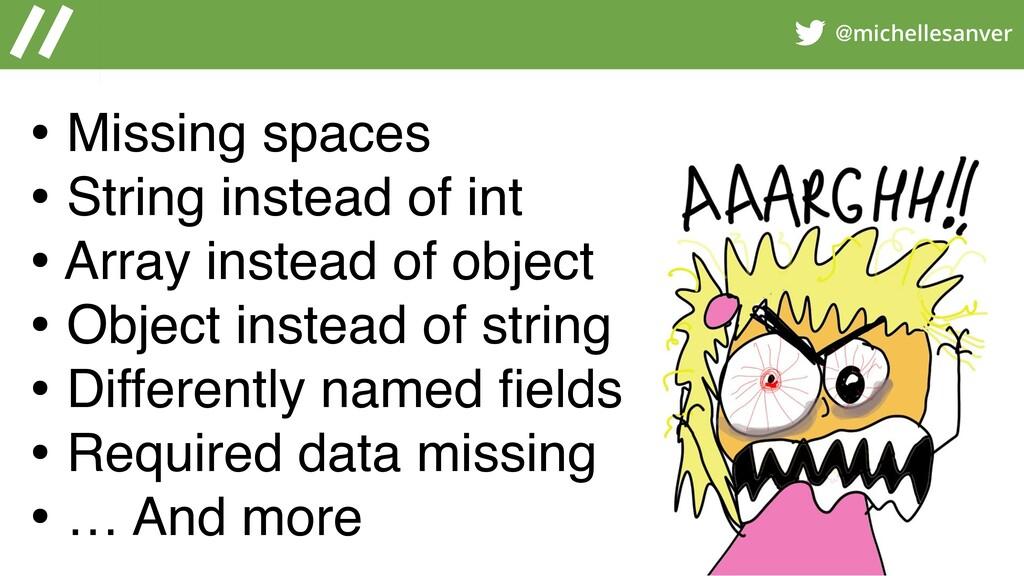 @michellesanver • Missing spaces • String inste...