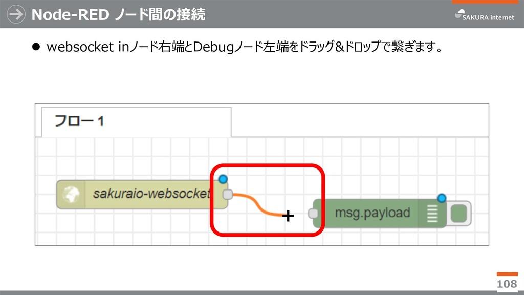 Node-RED ノード間の接続 l websocket inノード右端とDebugノード左端...
