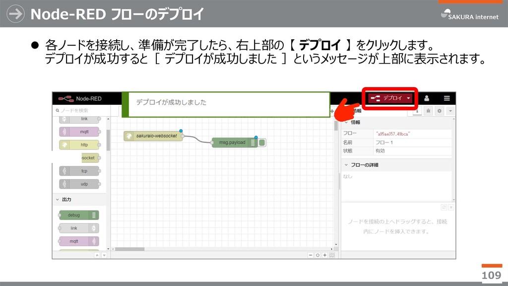 Node-RED フローのデプロイ l 各ノードを接続し、準備が完了したら、右上部の 【 デプ...