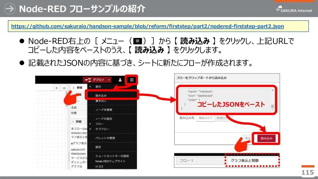 Node-RED フローサンプルの紹介 l Node-RED右上の[ メニュー( )]から 【...