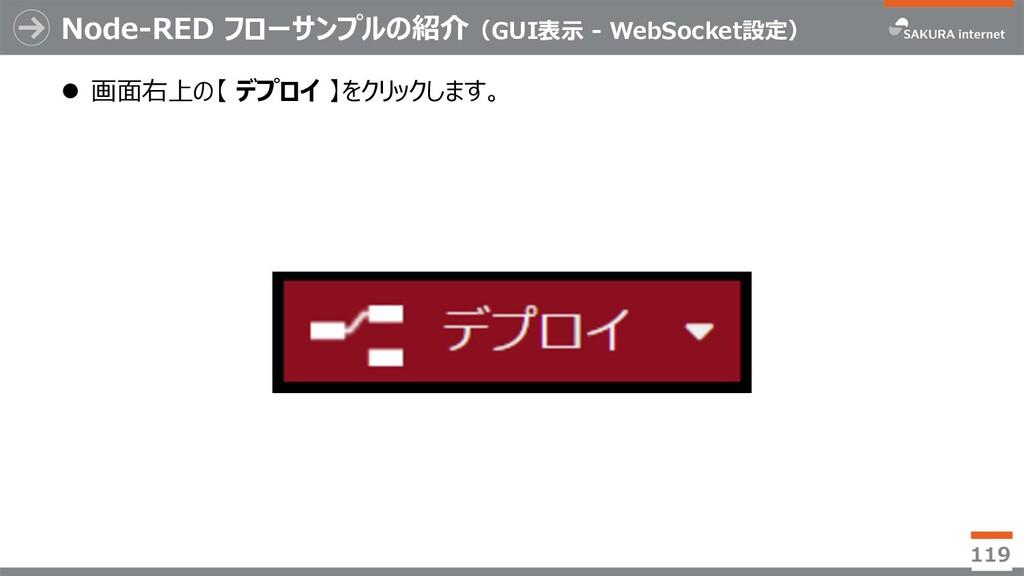 Node-RED フローサンプルの紹介(GUI表⽰ - WebSocket設定) l 画⾯右上...