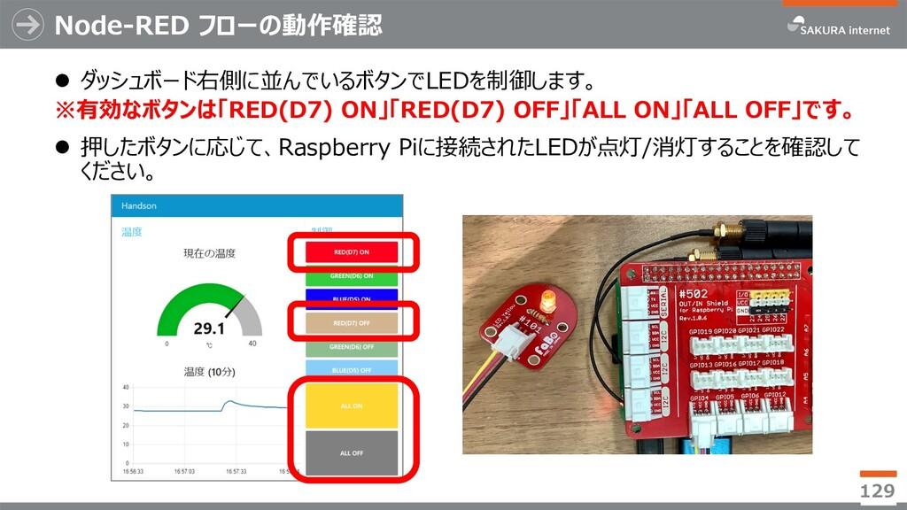 Node-RED フローの動作確認 l ダッシュボード右側に並んでいるボタンでLEDを制御しま...
