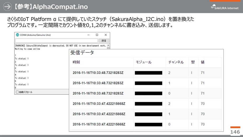 【参考】AlphaCompat.ino 146 さくらのIoT Platform α にて提供...