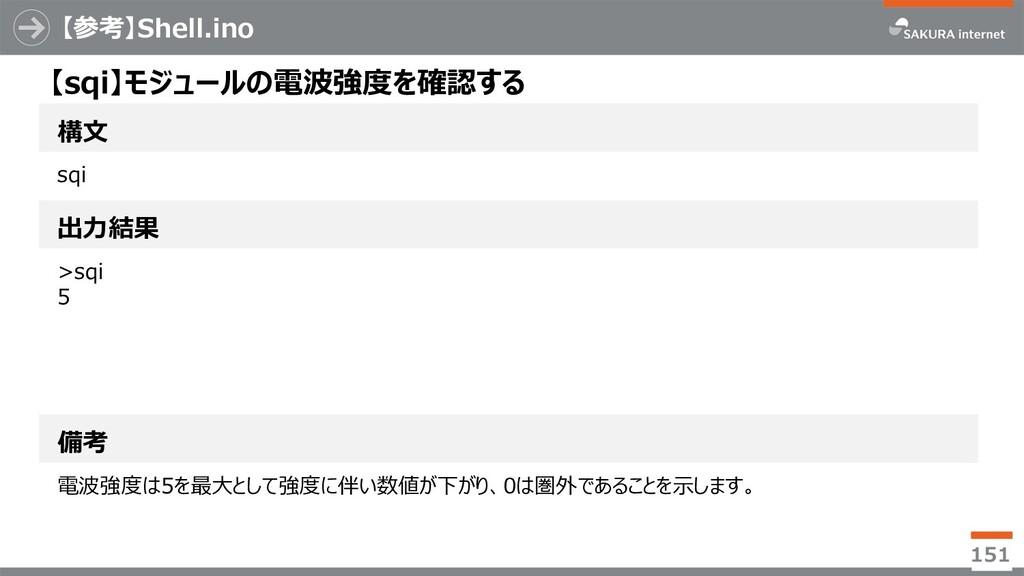 【参考】Shell.ino 151 構⽂ 【sqi】モジュールの電波強度を確認する 出⼒結果 ...