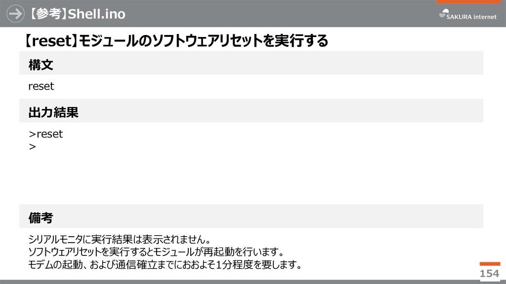 【参考】Shell.ino 154 構⽂ 【reset】モジュールのソフトウェアリセットを実⾏...