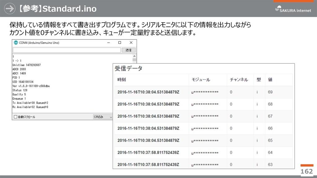【参考】Standard.ino 162 保持している情報をすべて書き出すプログラムです。シリ...