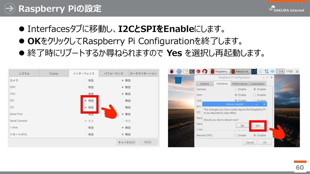 Raspberry Piの設定 l Interfacesタブに移動し、I2CとSPIをEnab...