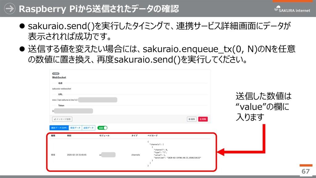 Raspberry Piから送信されたデータの確認 l sakuraio.send()を実⾏し...