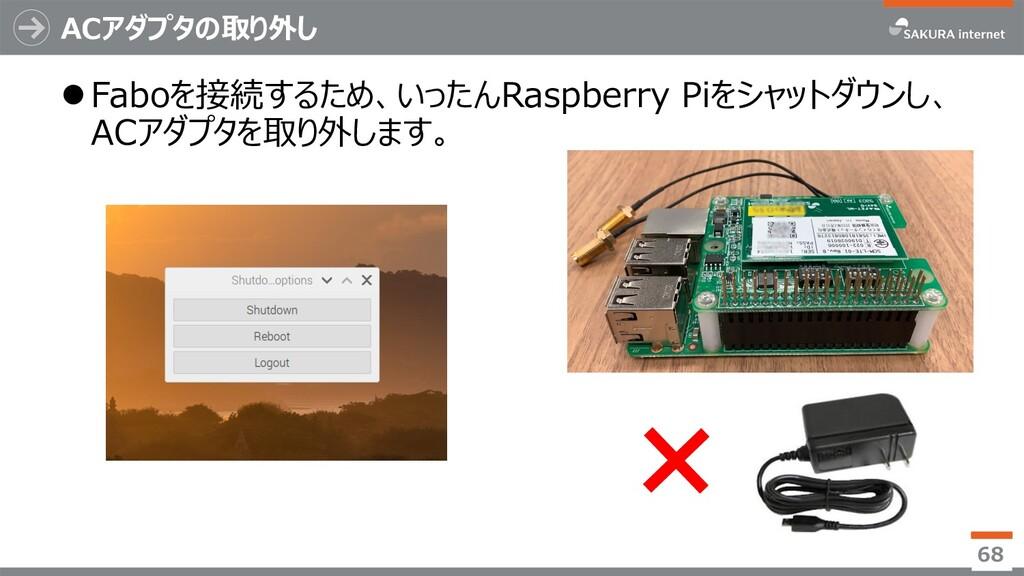 ACアダプタの取り外し lFaboを接続するため、いったんRaspberry Piをシャットダ...