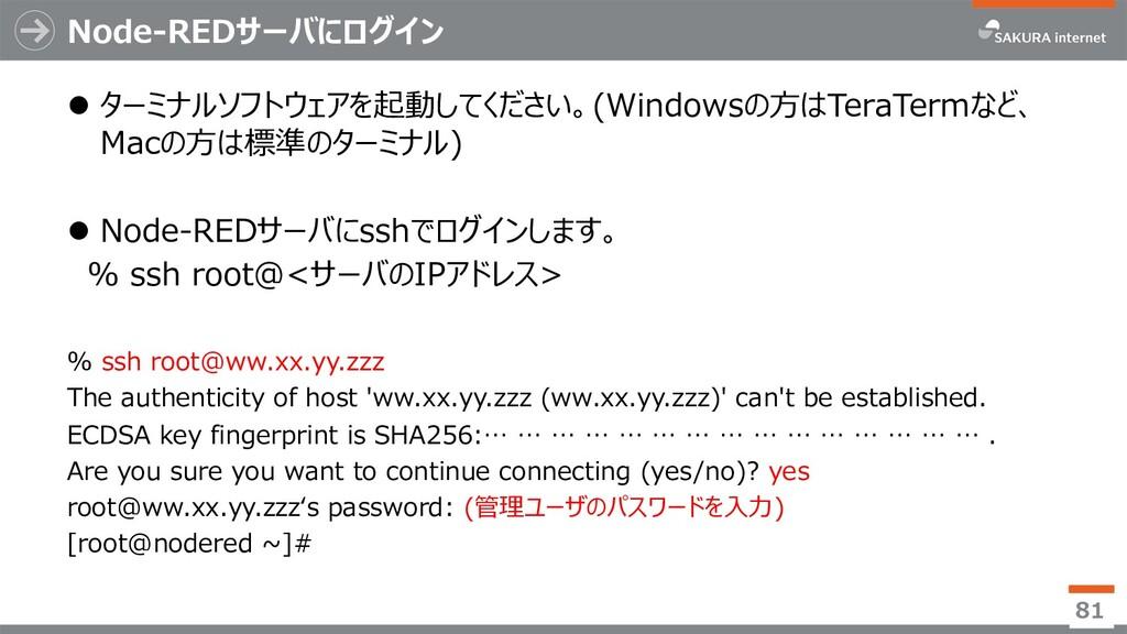 Node-REDサーバにログイン l ターミナルソフトウェアを起動してください。(Window...