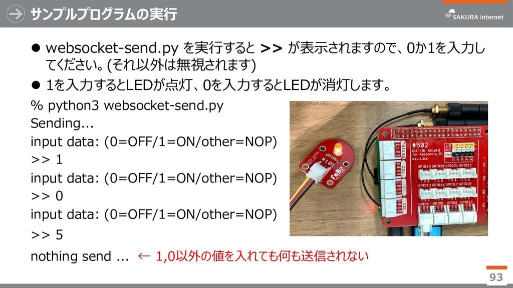 サンプルプログラムの実⾏ l websocket-send.py を実⾏すると >> が表⽰さ...