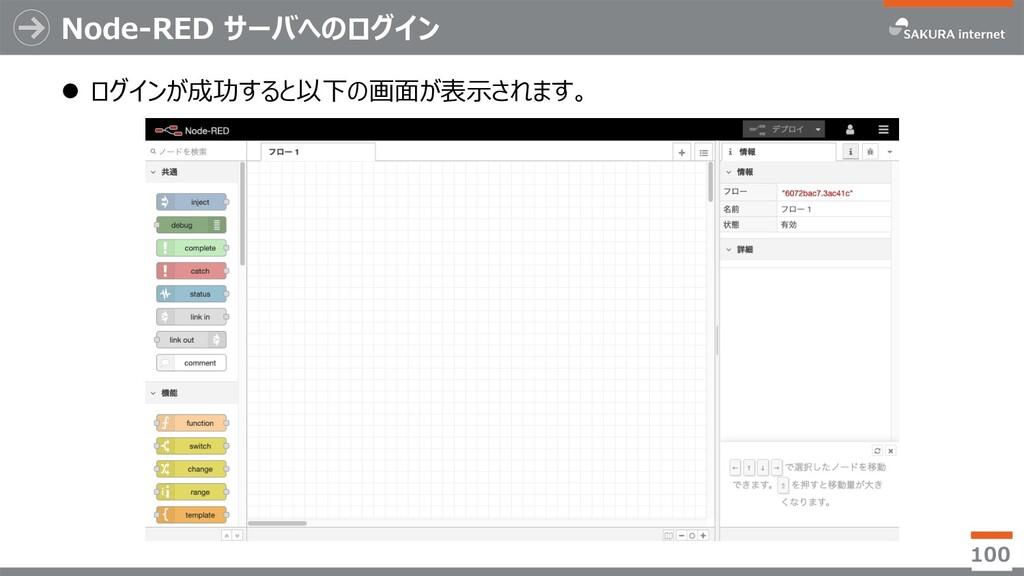 Node-RED サーバへのログイン l ログインが成功すると以下の画⾯が表⽰されます。 100