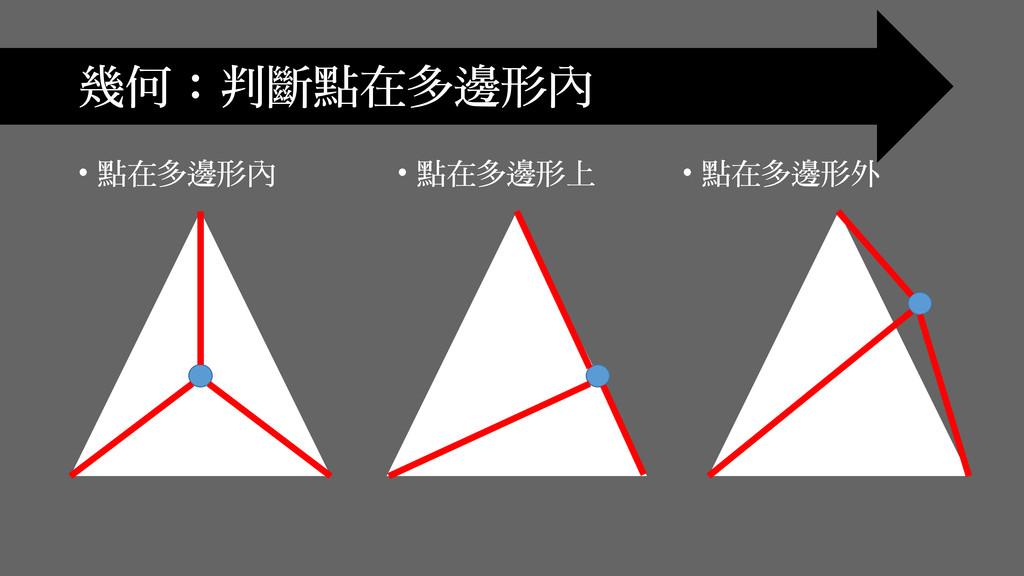 • 點在多邊形內 幾何:判斷點在多邊形內 • 點在多邊形上 • 點在多邊形外