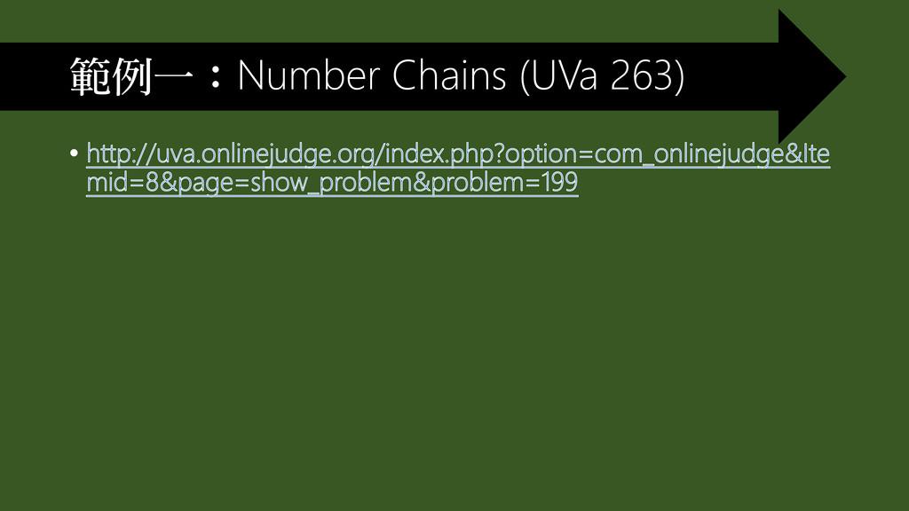範例一:Number Chains (UVa 263)