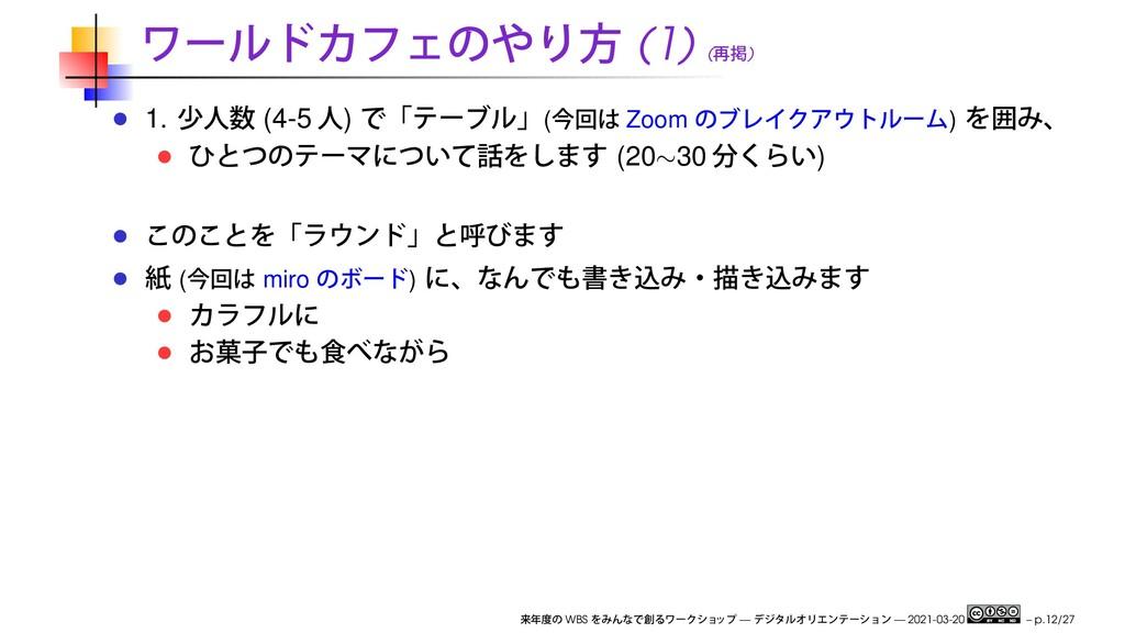 (1) ( ) 1. (4-5 ) ( Zoom ) (20∼30 ) ( miro ) WB...