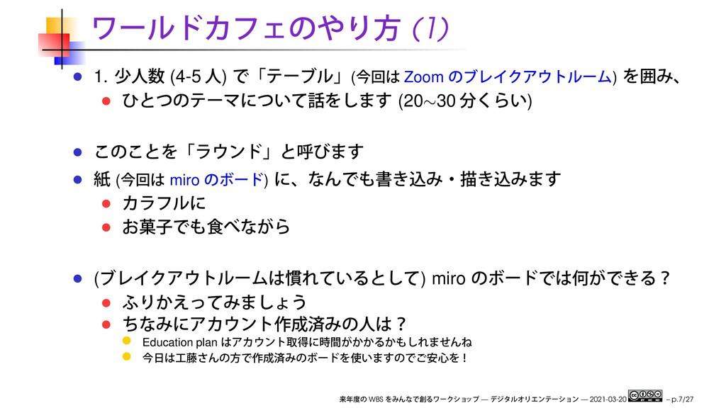 (1) 1. (4-5 ) ( Zoom ) (20∼30 ) ( miro ) ( ) mi...