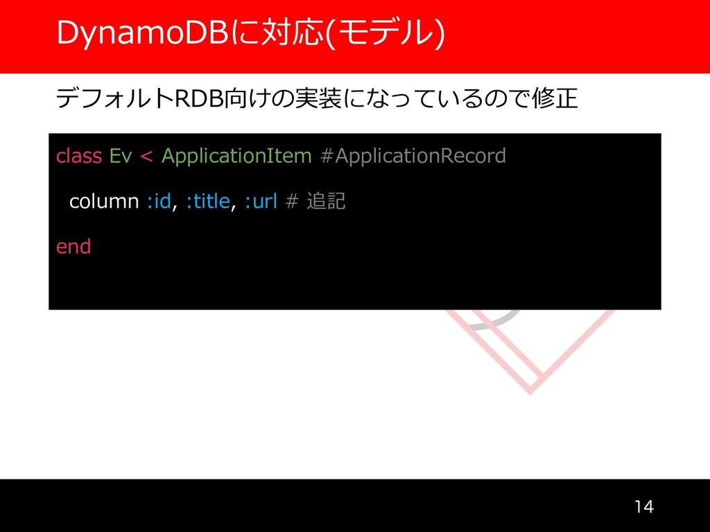 DynamoDBに対応(モデル)  デフォルトRDB向けの実装になっているので修正 cla...