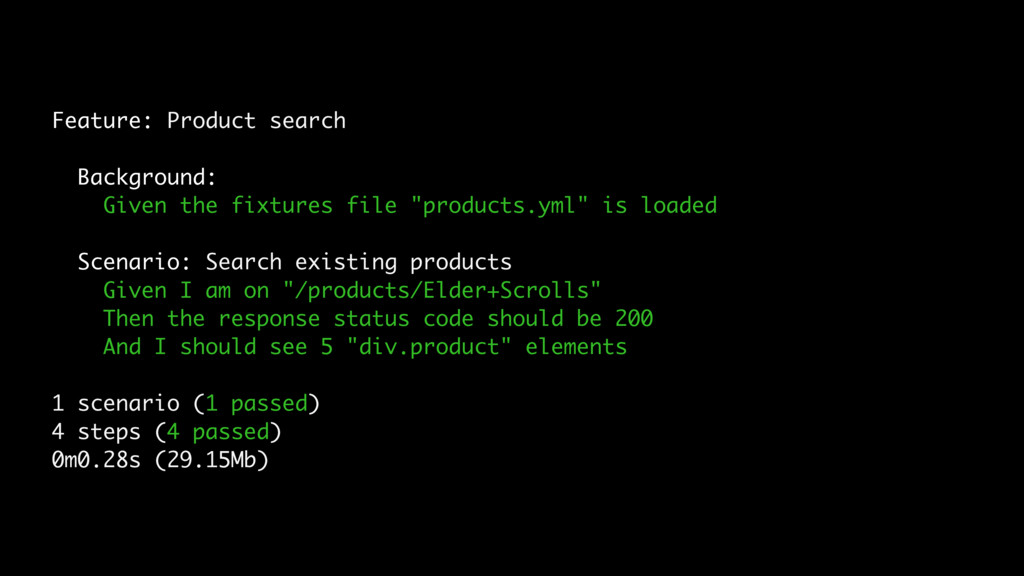 Feature: Product search Background: Given the f...