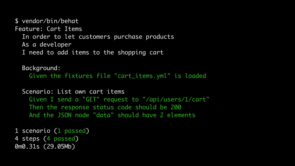 $ vendor/bin/behat Feature: Cart Items In order...