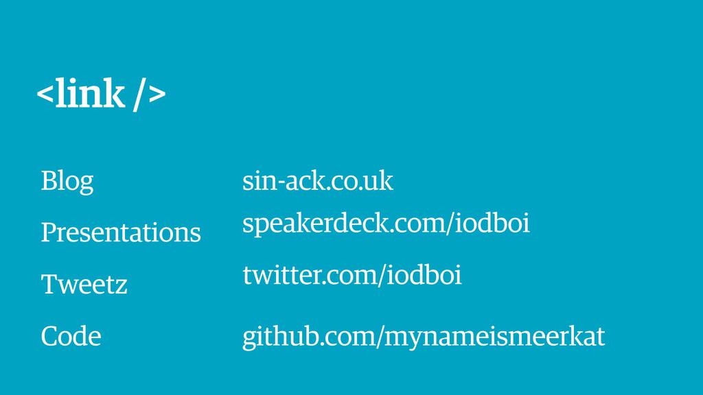 <link /> Blog sin-ack.co.uk Presentations speak...